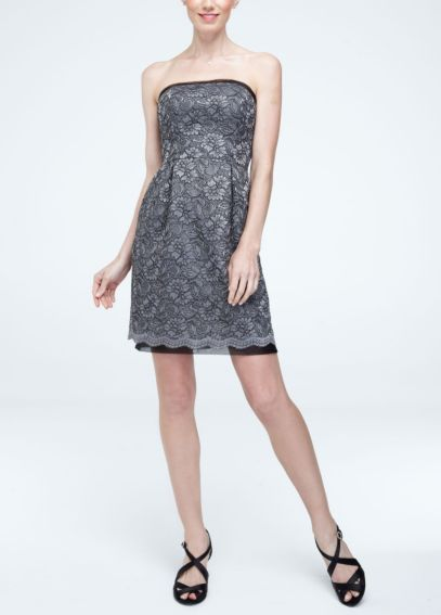 Short Strapless Contrast Corded Lace Dress W10184
