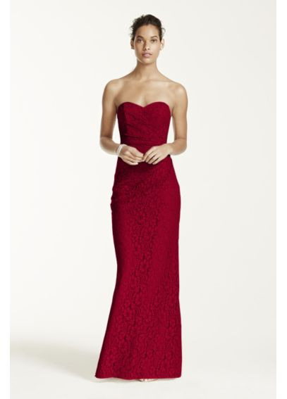 Long Strapless Lace Dress with Sweetheart Neckline W10329