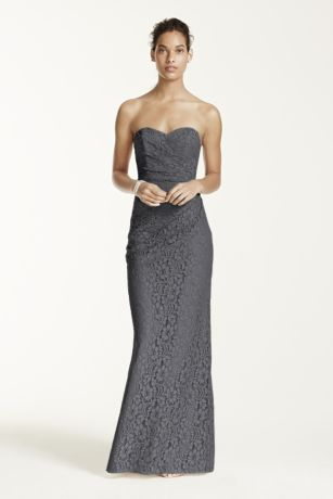 Strapless grey lace dress