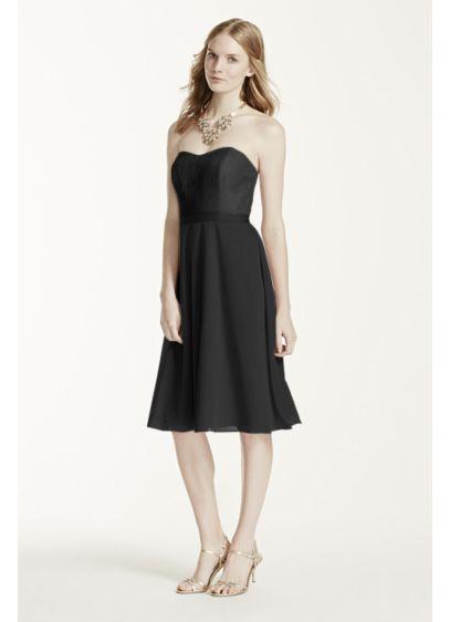 Short Black Soft & Flowy David's Bridal Bridesmaid Dress