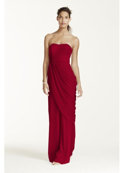 Long Strapless Mesh Dress with Side Draping W10482