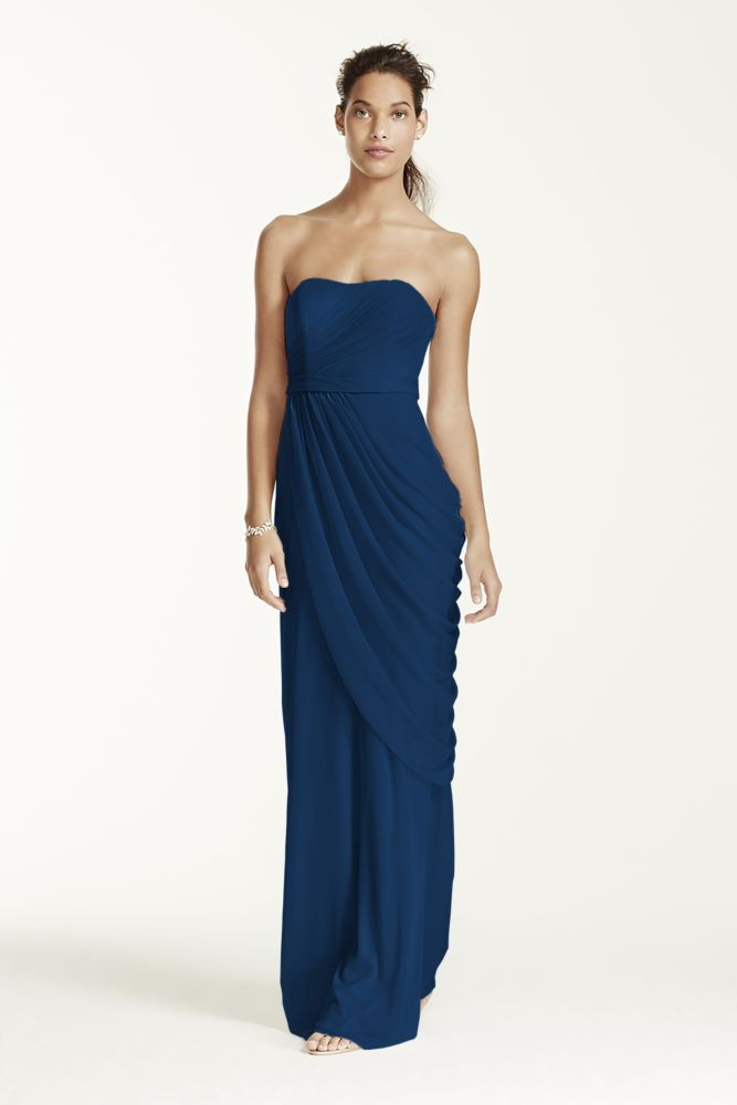 Long strapless mesh dress with pleating style w10482 ebay for David s bridal strapless wedding dress