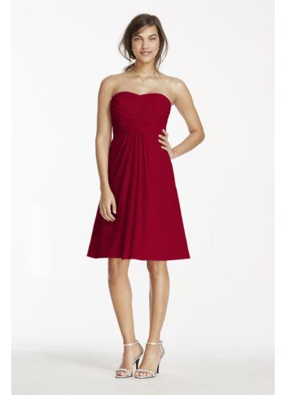 Short Pink Soft & Flowy David's Bridal Bridesmaid Dress