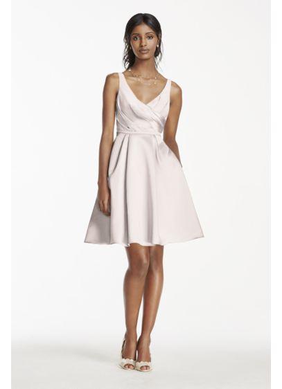 Short Blue Structured David's Bridal Bridesmaid Dress