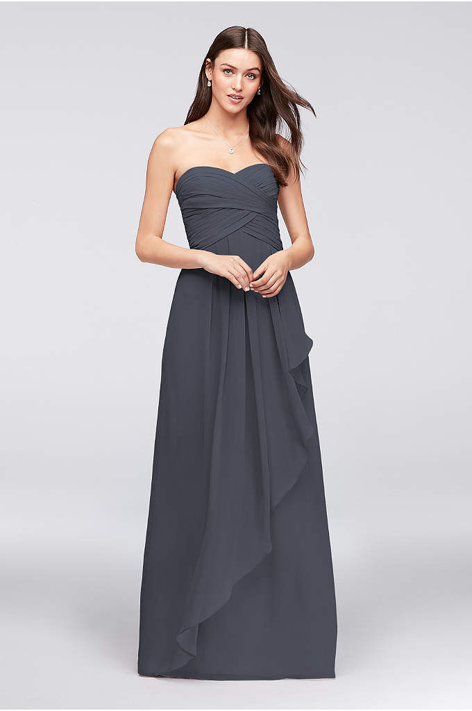 Strapless Crinkle Chiffon Dress with Cascade Skirt - Simply stunning, your bridal party is sure to