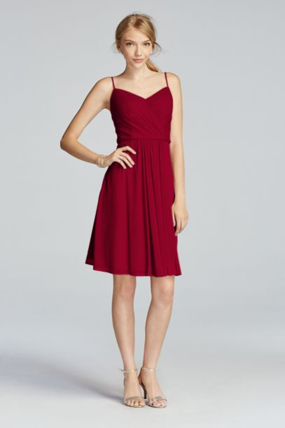 Mesh Spaghetti Strap Short Dress with V-Neckline - Davids Bridal