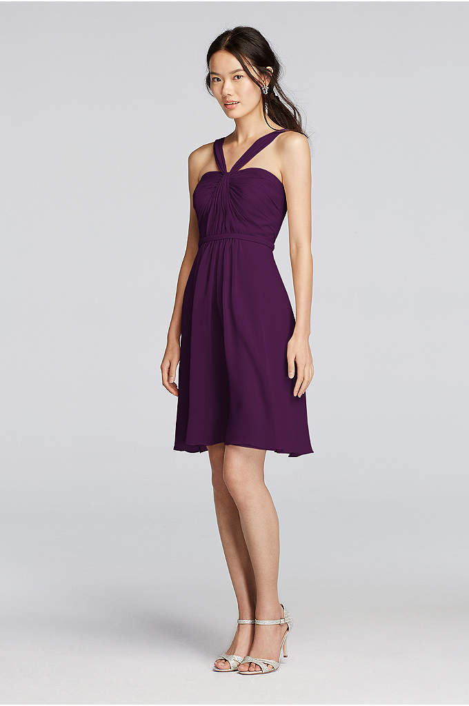 Y-Neck Ruched Bodice Crinkle Chiffon Short Dress - We love the artful draping and unexpected Y-neckline