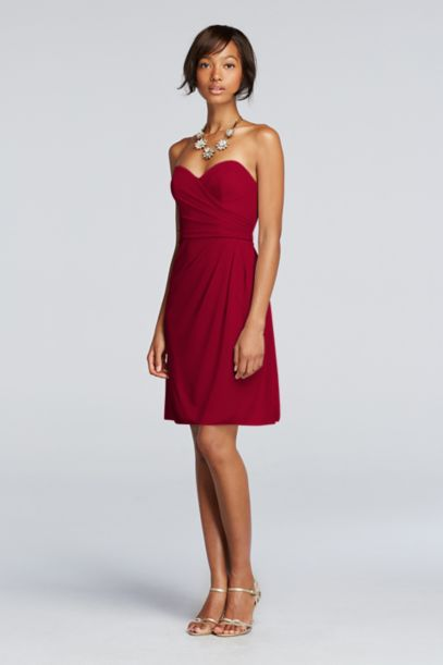 Short Strapless Mesh Dress with Sweetheart Neck - Davids Bridal