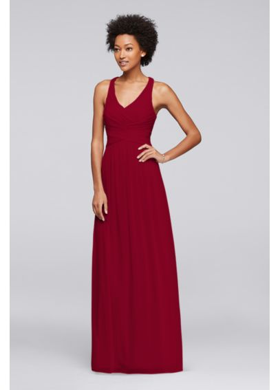 Mesh Long Bridesmaid Dress with Crisscross Back W10974