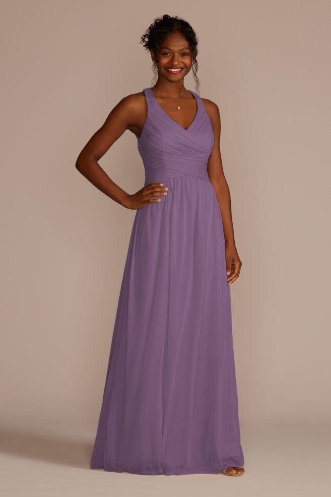 David\'s Bridal Mesh Long Bridesmaid Dress with Crisscross Back Style ...