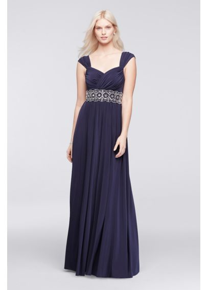 Pleated Sweetheart Jersey Dress with Beaded Waist W11009