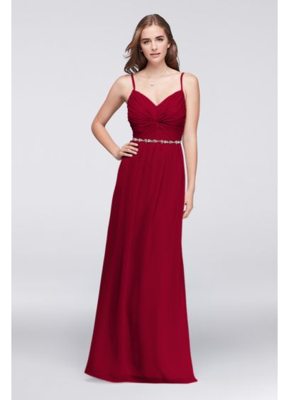 Twist Bodice Chiffon Dress With Beaded Belt David S Bridal