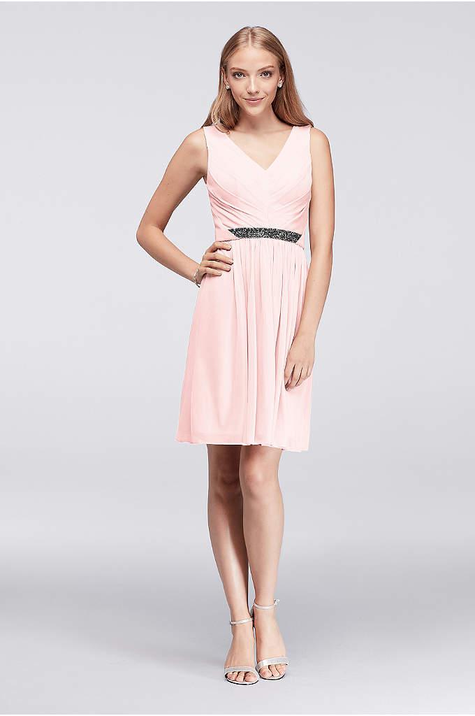 Short Mesh Dress with V-Neck and Beaded Waistband - Tiny pyramid beads sparkle at the waistline of