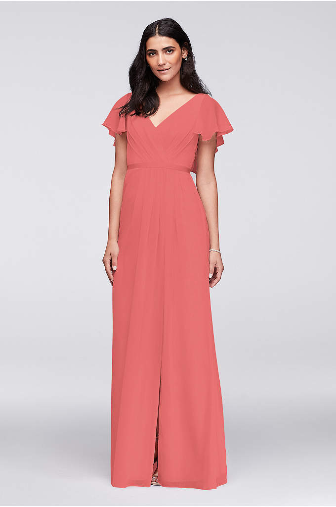 Flutter Sleeve Crinkle Chiffon Bridesmaid Dress - Flowy flutter sleeves, a deep V-back, and a