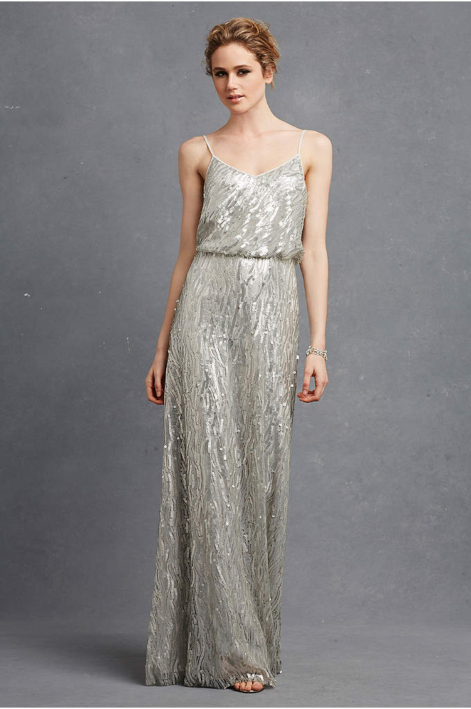 Courtney Sequined Bridesmaid Dress - Sparkling sequins make soft waves on this blouson-bodice
