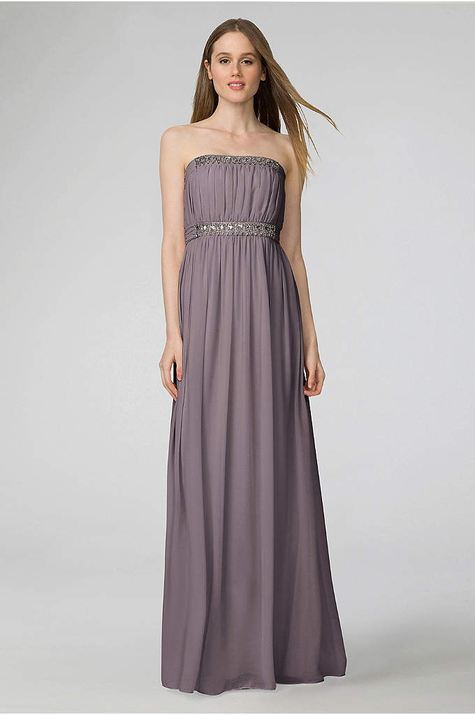 Kyle Chiffon Bridesmaid Dress with Beading - Bands of crystal beading sparkle atop the ruched