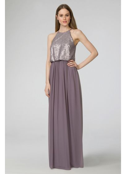 Long Grey Soft Flowy Donna Morgan Bridesmaid Dress