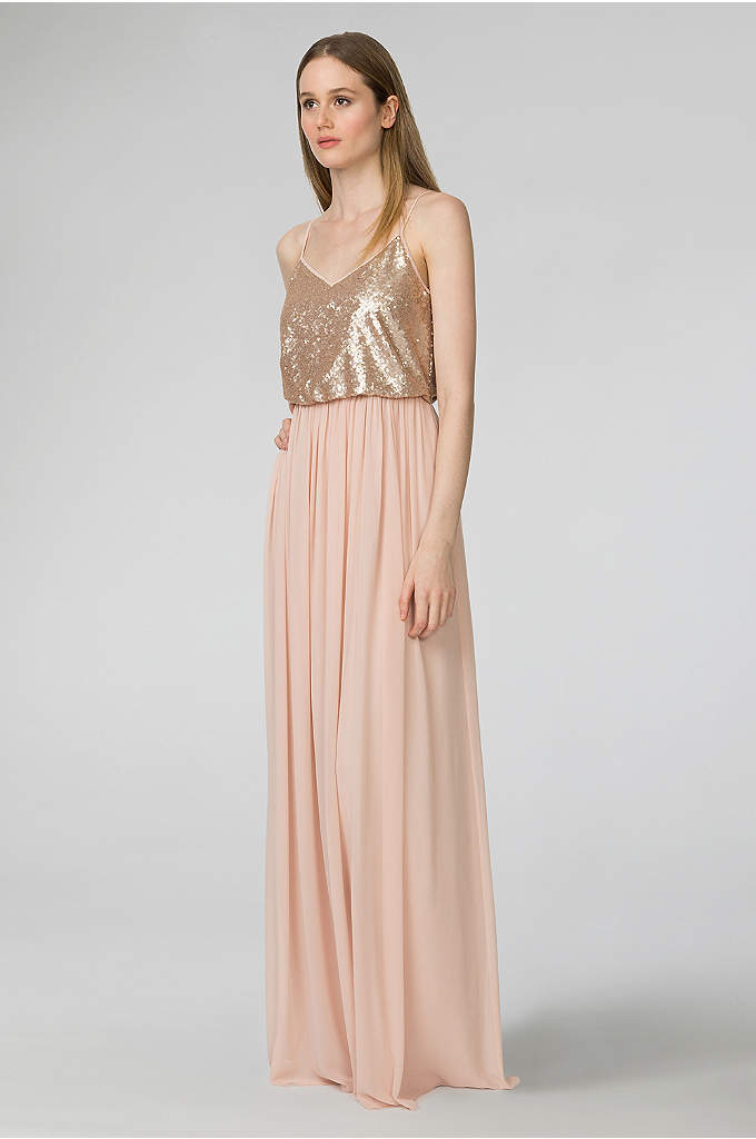 Paige V-Neck Sequin and Chiffon Bridesmaid Dress - Combining the sophisticated appeal of separates with the