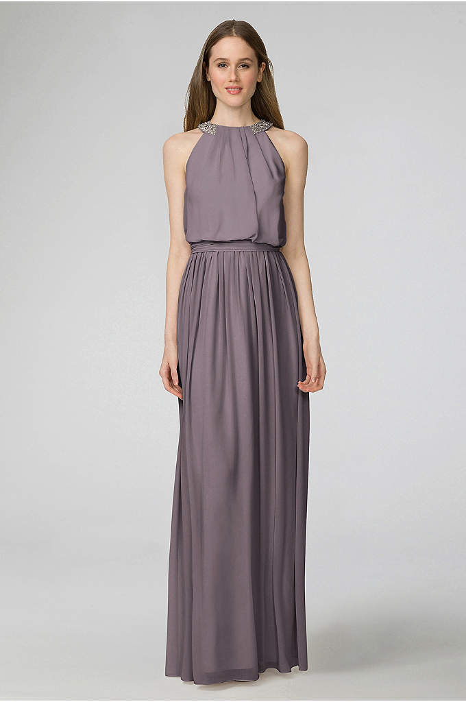 Peyton Chiffon Bridesmaid Dress with Bead Neckline - The jeweled neckline of this chiffon bridesmaid creates