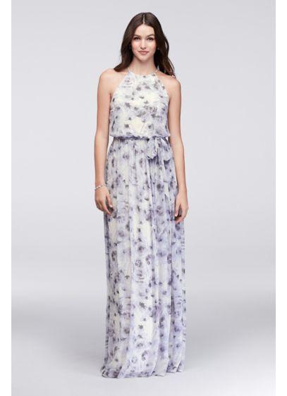 Long Purple Soft & Flowy Donna Morgan Bridesmaid Dress