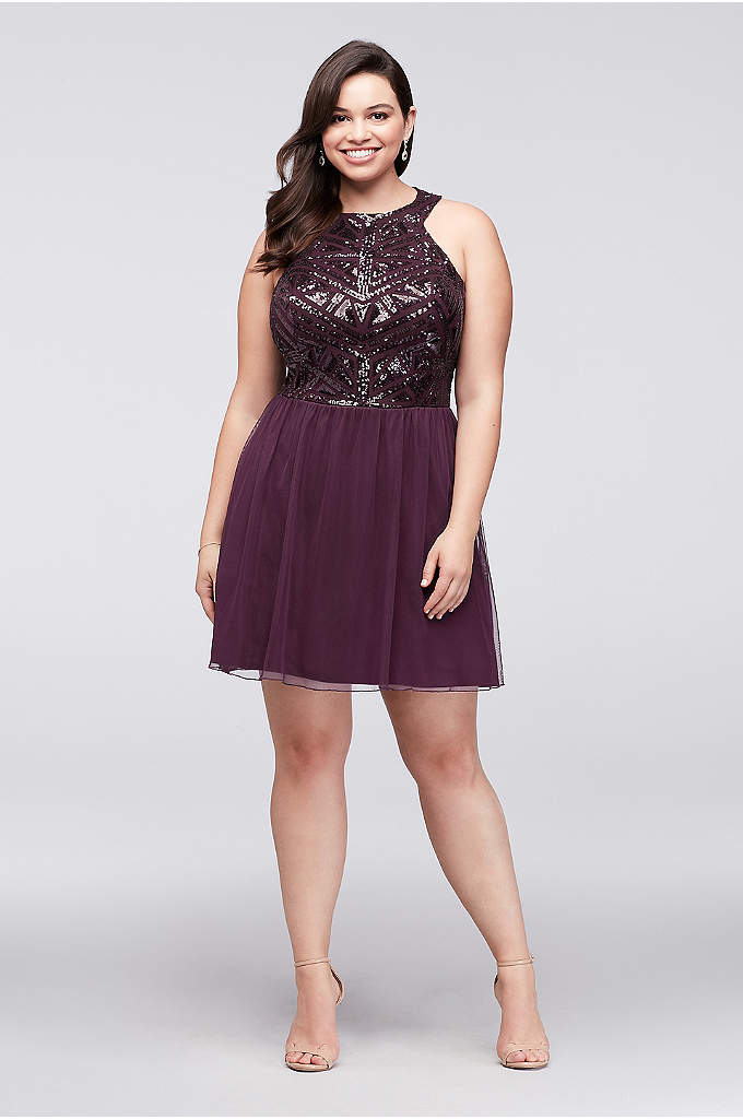 Geometric Sequin and Mesh Plus Size Dress - As stunning as this plus-size mesh dress's geometric