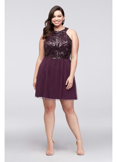 Geometric Sequin and Mesh Plus Size Dress | David\'s Bridal
