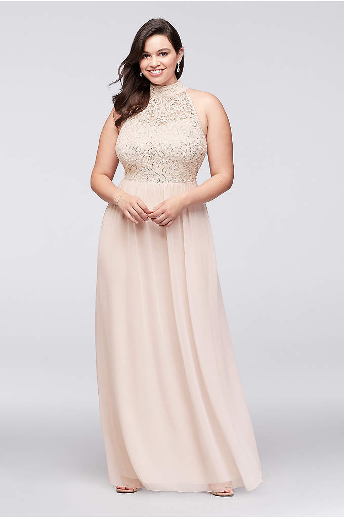 Chiffon Plus Size Gown with Open Ladder Back - The high-neck illusion bodice of this lace and