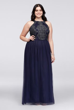 Caviar Beaded Tulle Plus Size Gown with Open Back | David\'s Bridal