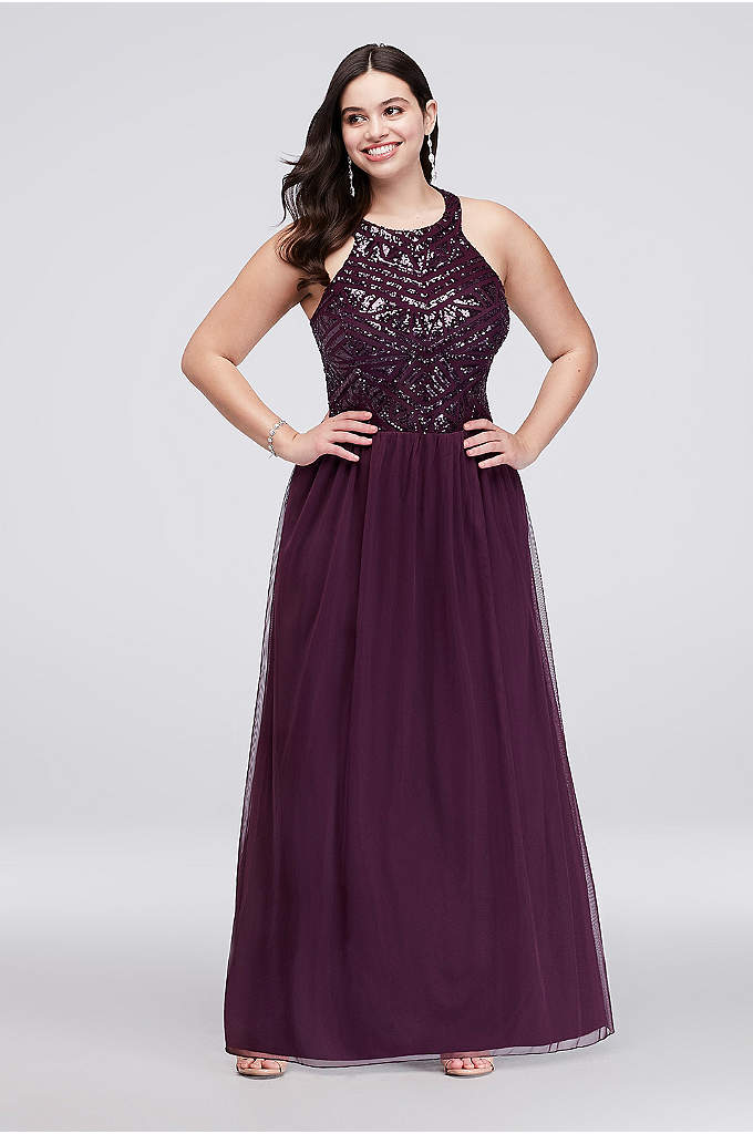 Mesh Halter Plus Size A-Line with Sequin Bodice - A geometric pattern and open back gives this