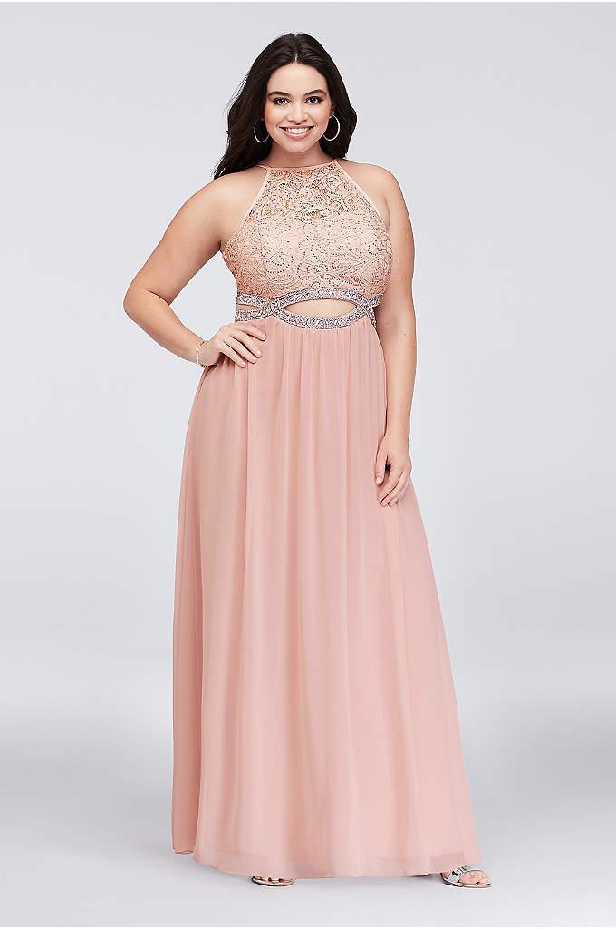 Infinity Cutout Lace and Chiffon Plus Size Gown - This sequin lace and soft chiffon plus-size gown