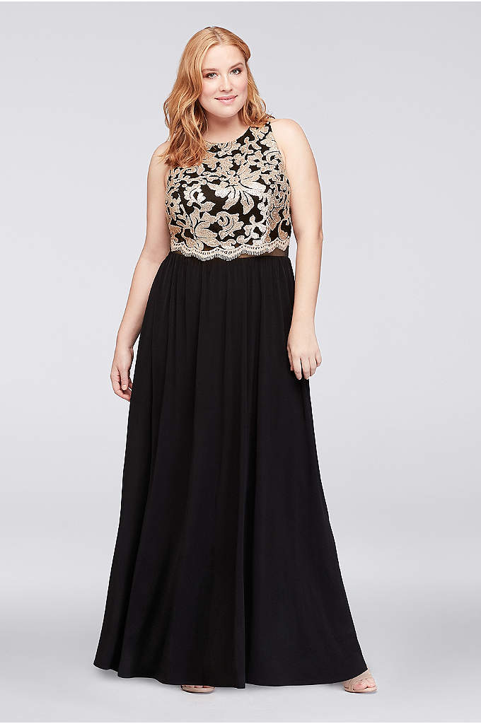Illusion Waist Plus Size Gown with Sequined Bodice - An opulent sequined and embroidered lace bodice and