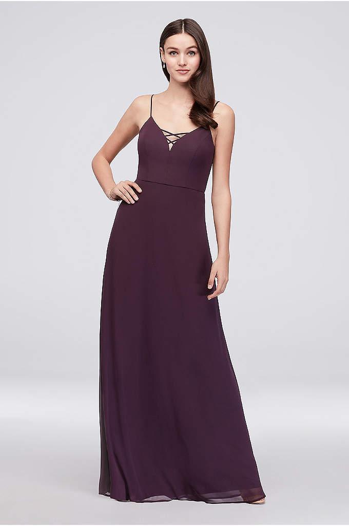 Lattice Neckline Long Chiffon Bridesmaid Dress - The plunging neckline of this long chiffon bridesmaid