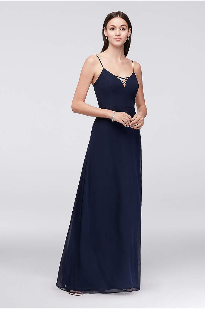 Lattice Neckline Long Chiffon Bridesmaid Dress - The plunging neckline of this long chiffon bridesmaid