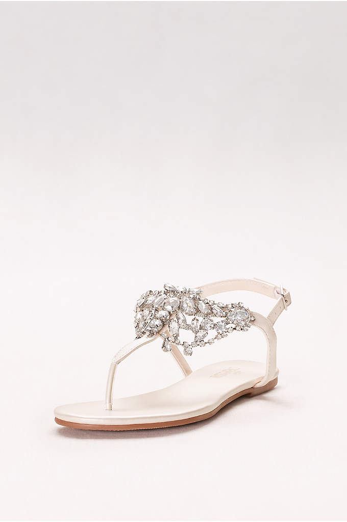 Crystal-Embellished T-Strap Thong Sandals - Get ready to show off your pedi with