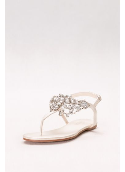 Davids Bridal Ivory Sandals Crystal Embellished T Strap Thong