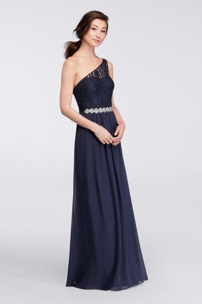 One-Shoulder Long Dress with Beaded Waist - Davids Bridal