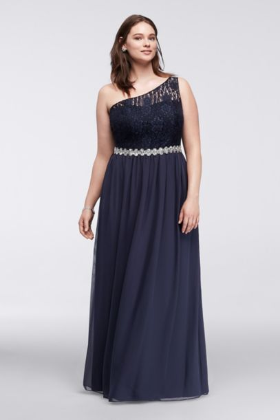 Lace Chiffon Plus Size Dress with Illusion Bodice - Davids Bridal