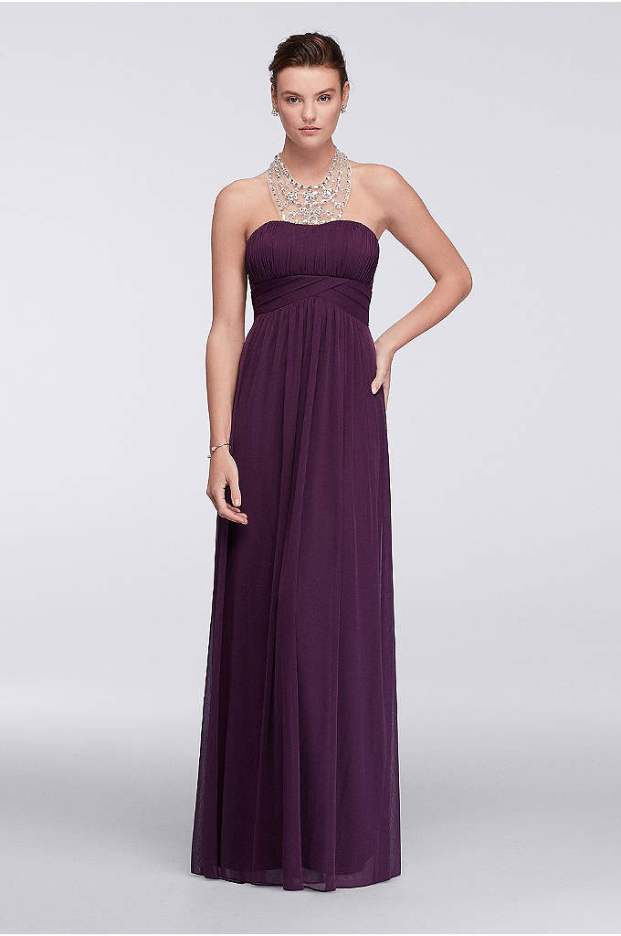 Long Chiffon Dress with Beaded Illusion Neckline - Make heads turn. Lightweight layers of chiffon mesh