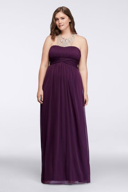 crystal beaded long halter plus size dress | david's bridal