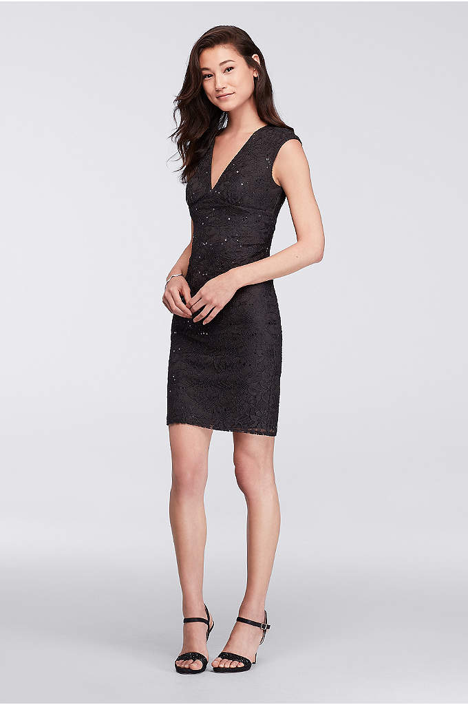 V-Neck Sequin Lace Short Dress with Cap Sleeves
