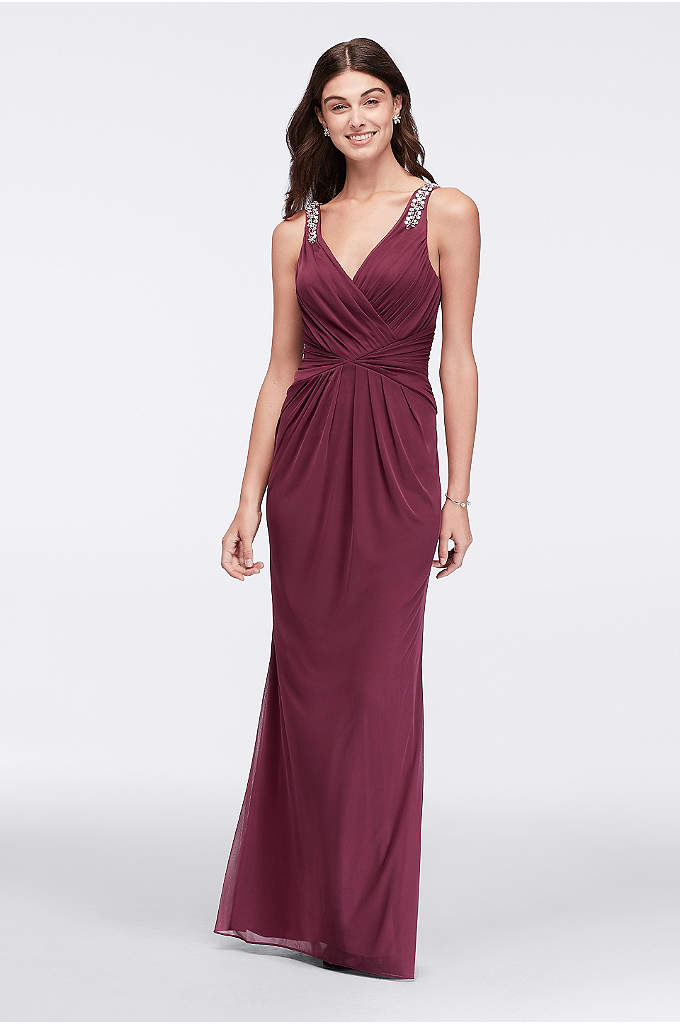 Beaded Strap V-Neck Long Dress - With a flattering V-neckline and curve-enhancing gathered waist,