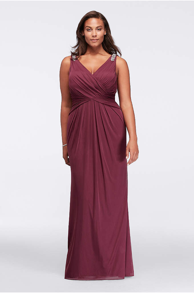 Beaded Strap Plus Size V-Neck Long Dress - With a flattering V-neckline and curve-enhancing gathered waist,