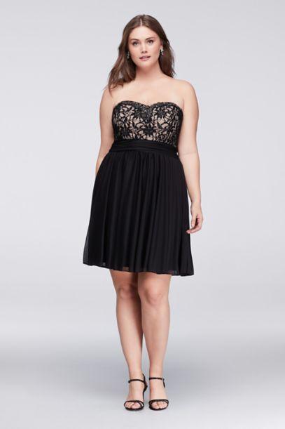 jeweled lace and mesh strapless plus size dress | david's bridal