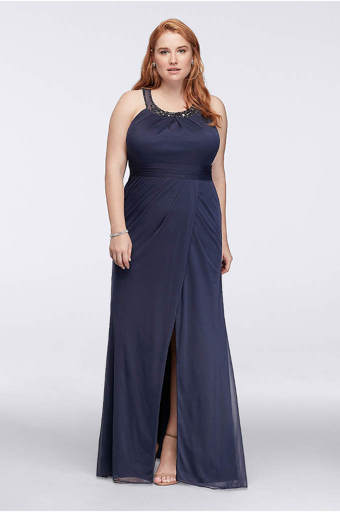 Beaded Illusion Collar Plus Size Long Dress - Feel free to skip a necklace: The mesh
