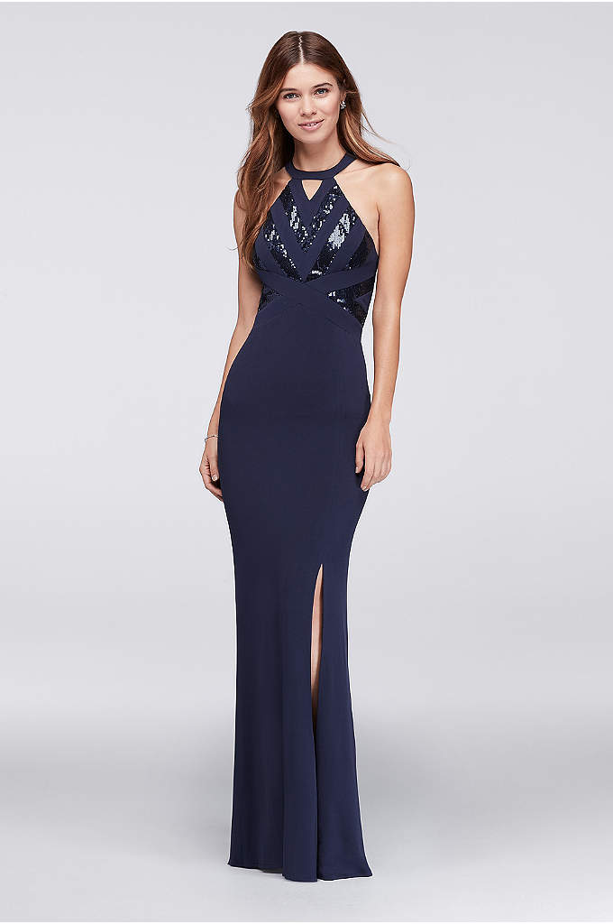 Sequined Chevron Halter Dress - This classic chiffon halter gown gets its sparkle