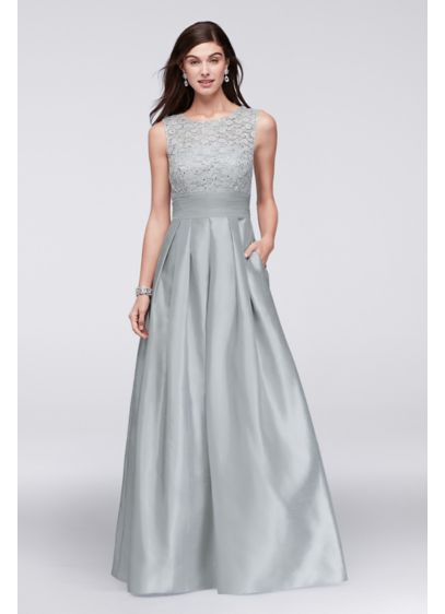 Lace and satin sleeveless ball gown david 39 s bridal for Silver ball gown wedding dresses