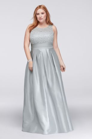 Lace And Satin Sleeveless Plus Size Ball Gown David S Bridal