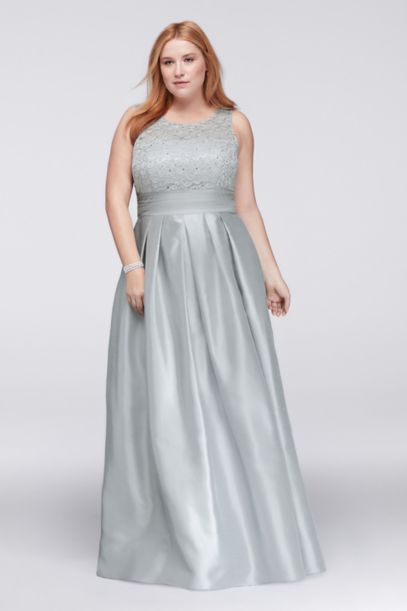 lace and satin sleeveless plus size ball gown | david's bridal