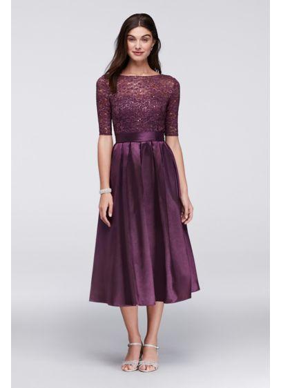 Lace And Satin Elbow Sleeve Tea Length Dress