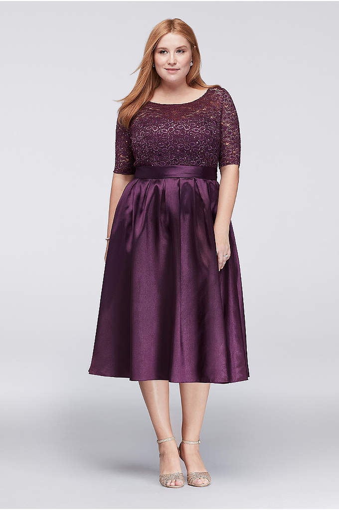 Lace and Satin Elbow-Sleeve Plus Size Ball Gown - A classic look for the mother of the